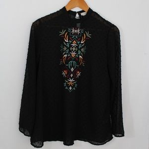 Altar'd State Long Sleeve Black Dotted Top